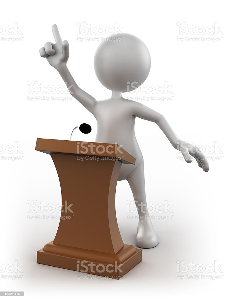 3d Man at the podium giving speech, isolated/clipping path royalty-free stock photo