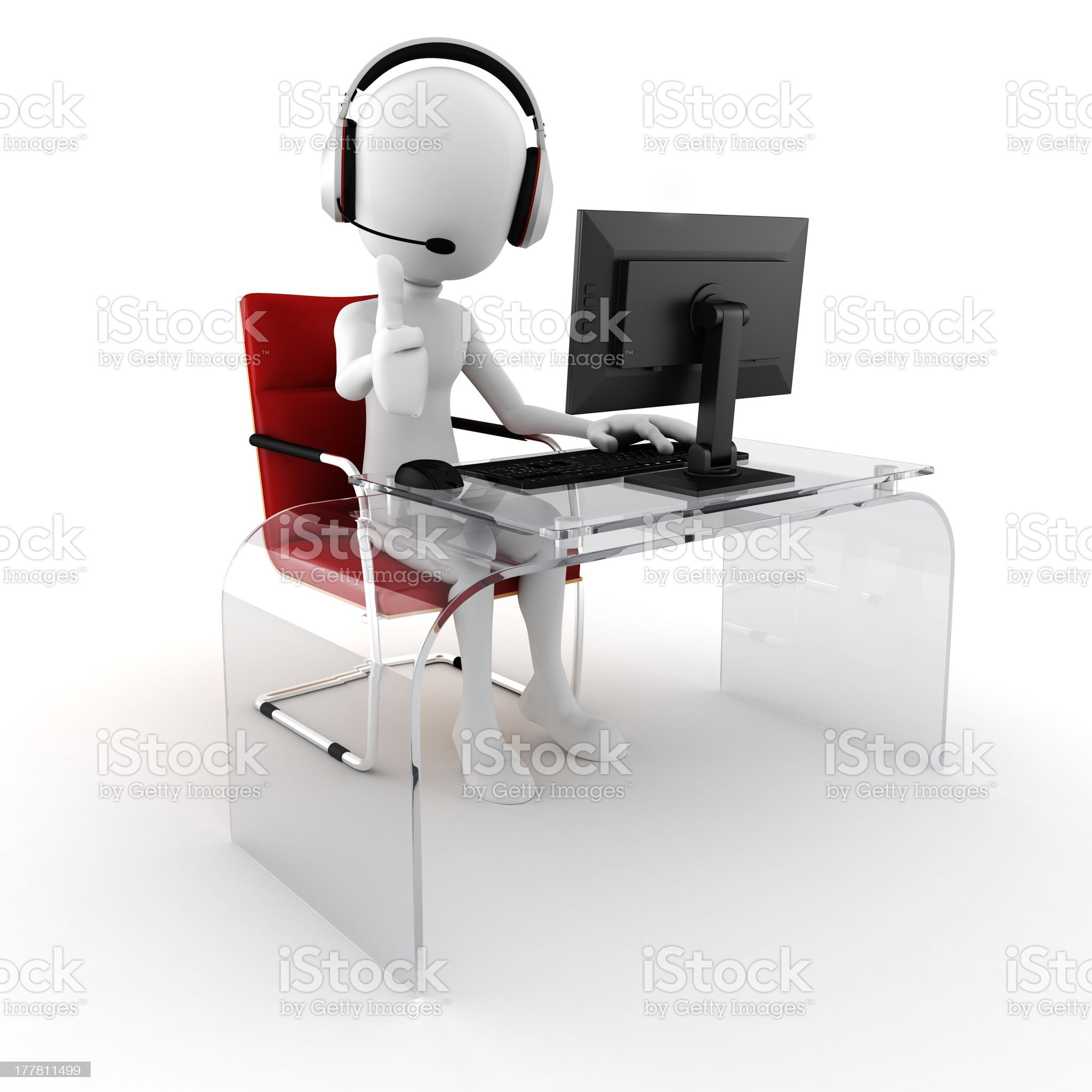 3d man call center ready to help royalty-free stock photo