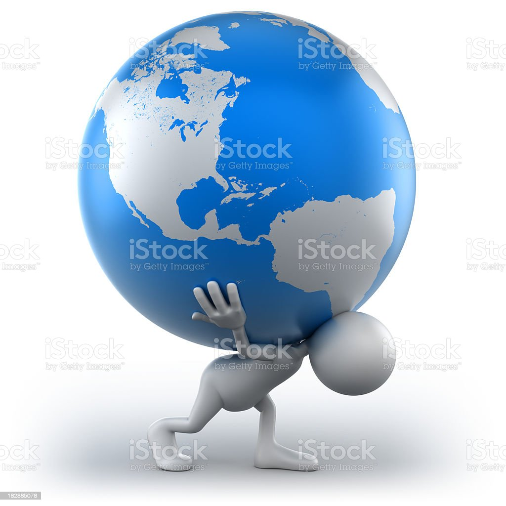 3d Man carrying Earth, isolated with clipping path royalty-free stock photo