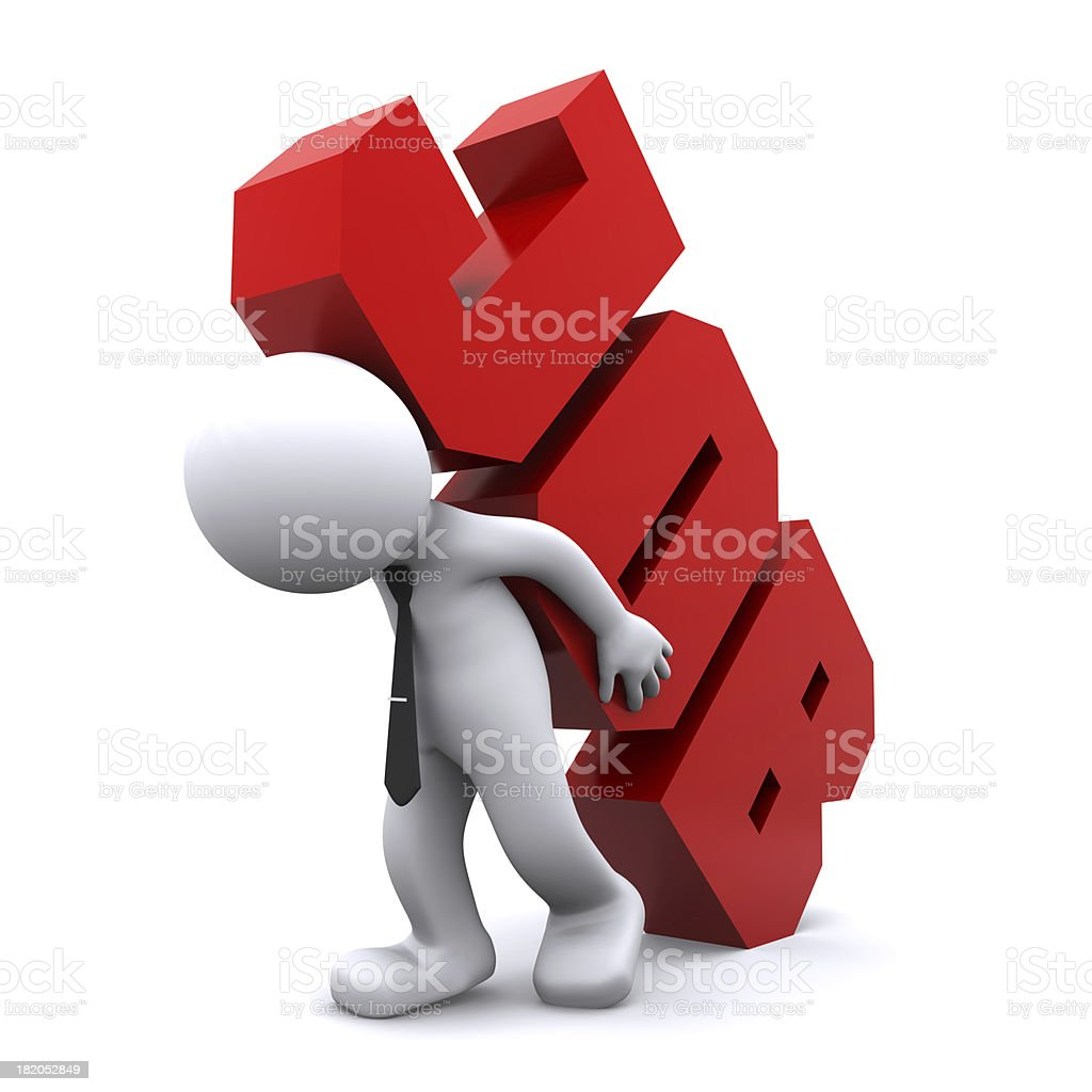 3d man carrying heavy job sign. Overworking concept. stock photo