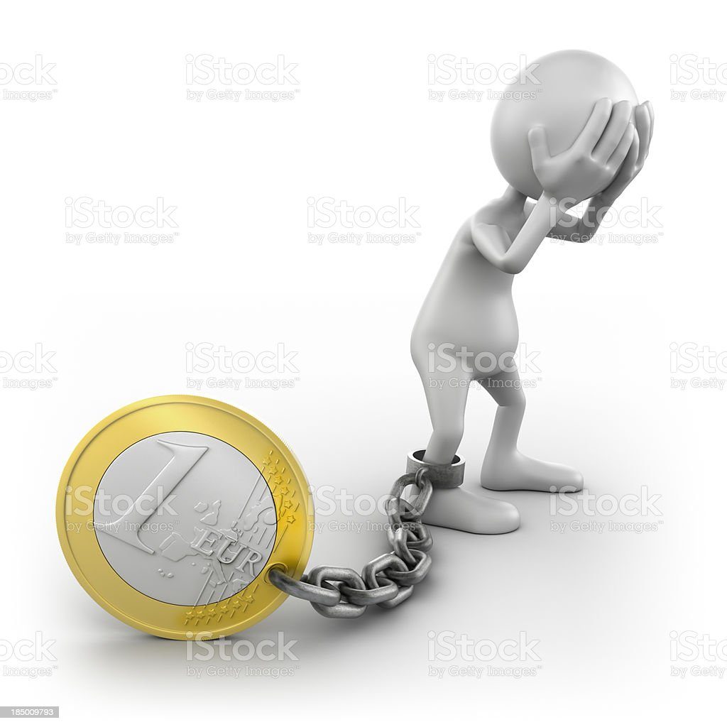 3d man chained to Euro coin, isolated with clipping path royalty-free stock photo