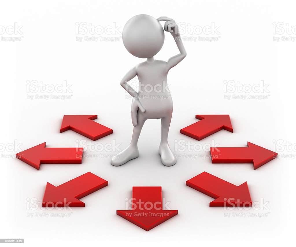 3d Man confused with arrows, isolated w. clipping path royalty-free stock photo