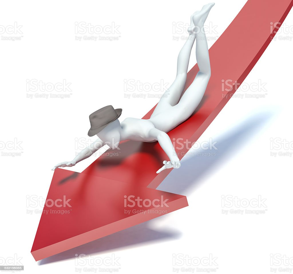 3d man falls from the chart stock photo