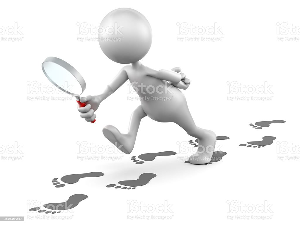 3d Man following tracks with magnifying glass isolated/clipping path royalty-free stock photo