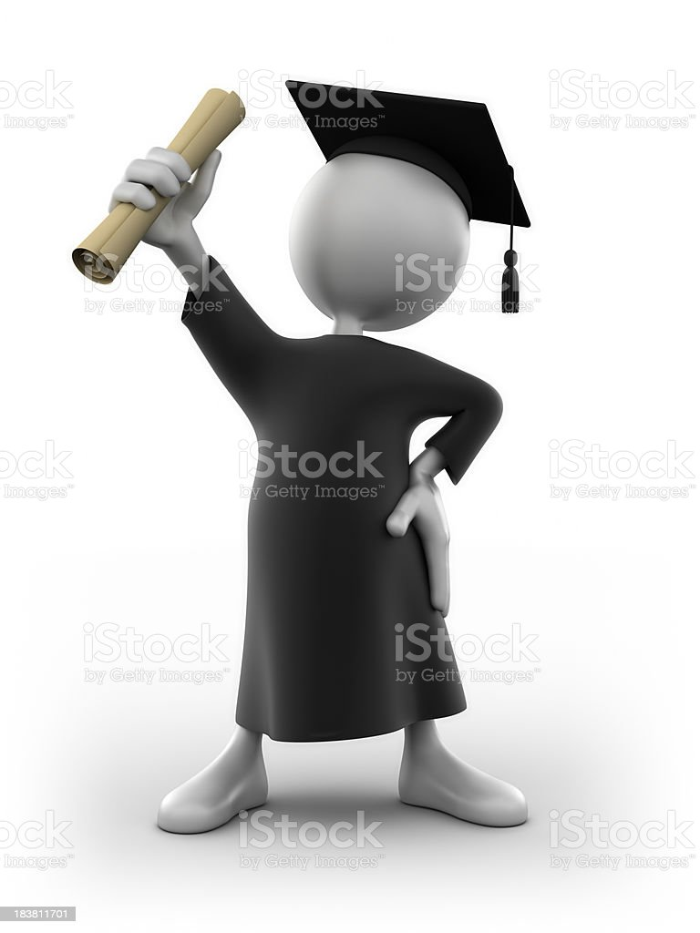 3d man graduation, isolated with clipping path stock photo