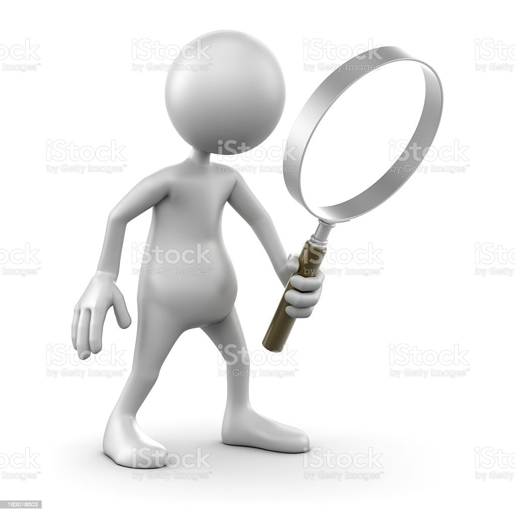 3d Man holding magnifying glass, isolated with clipping path royalty-free stock photo