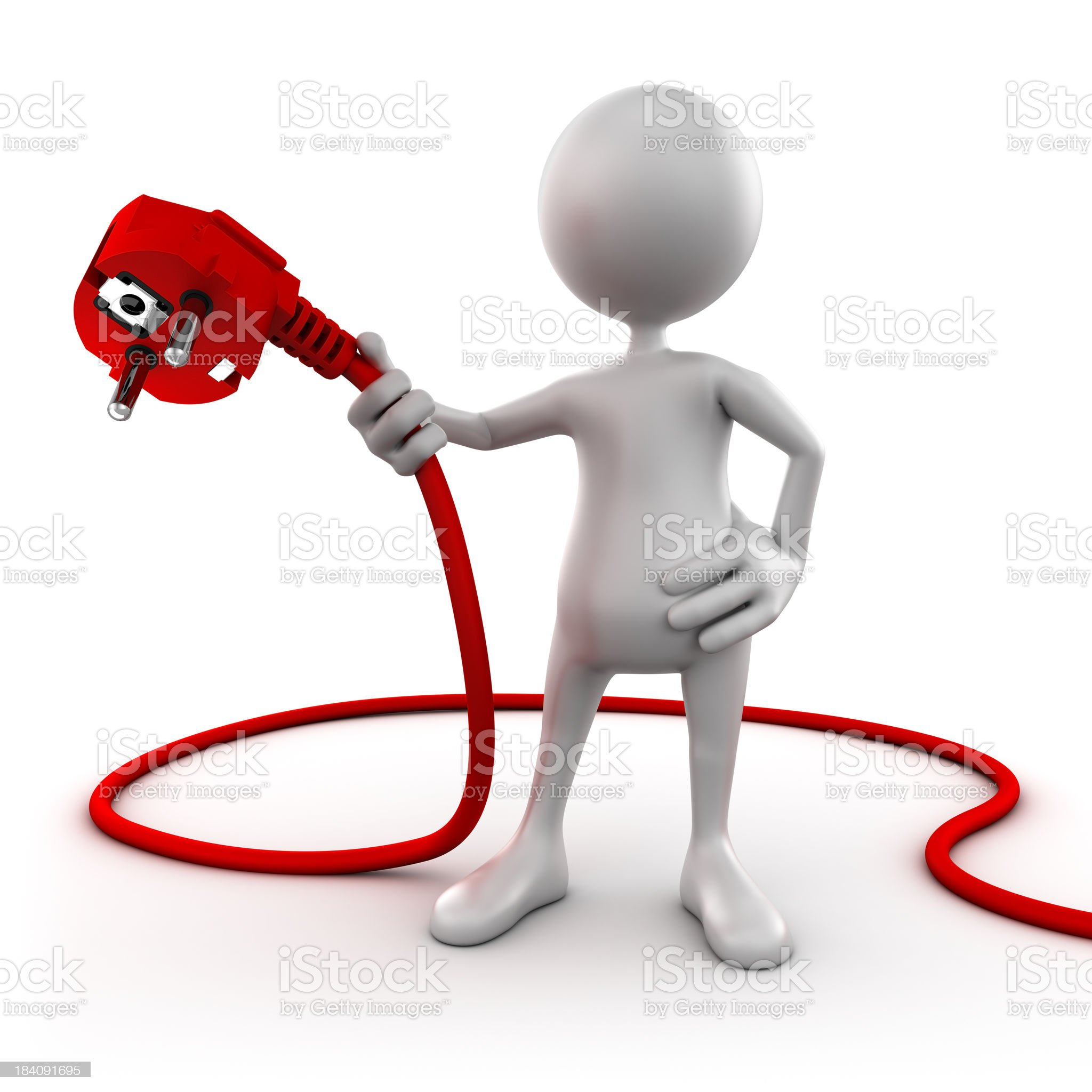 3d man holding Power cable - isolated with clipping path royalty-free stock photo