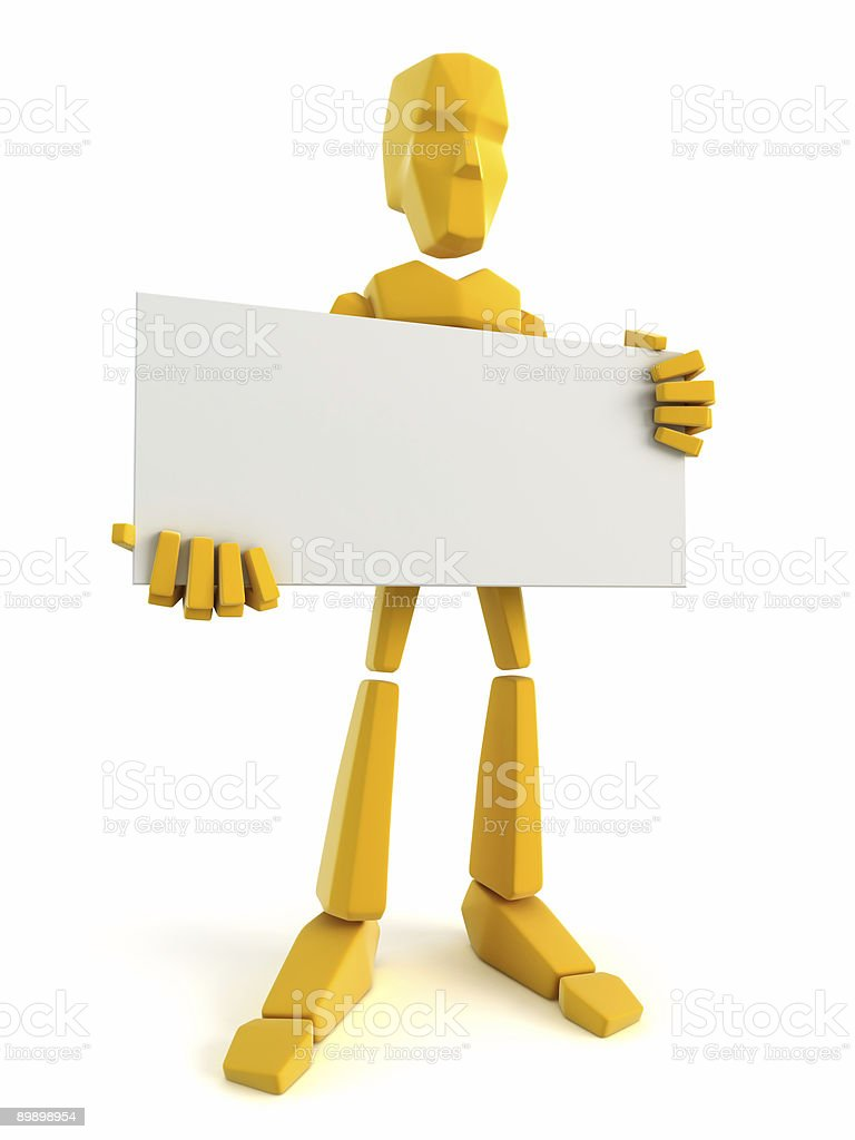 3d man holding the blank poster royalty-free stock photo