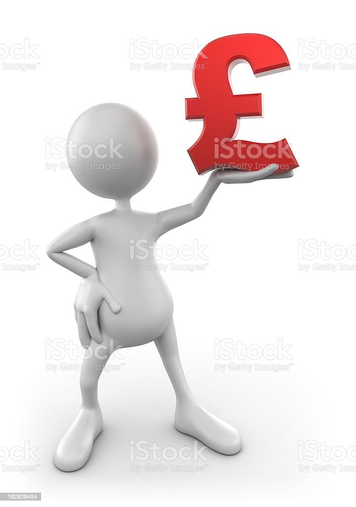 3d Man holding up pound sign, isolated with clipping path royalty-free stock photo