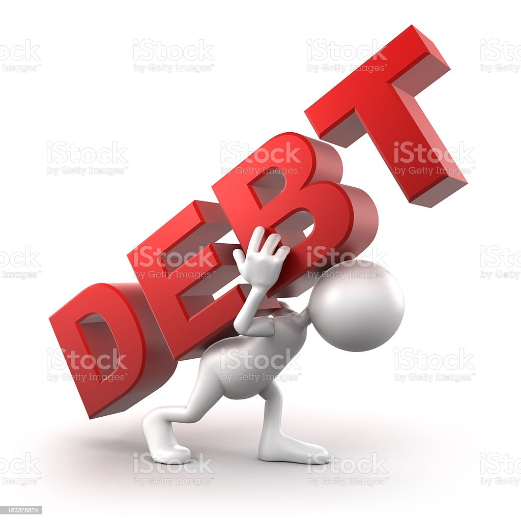 3d Man in debt , isolated with clipping path royalty-free stock photo