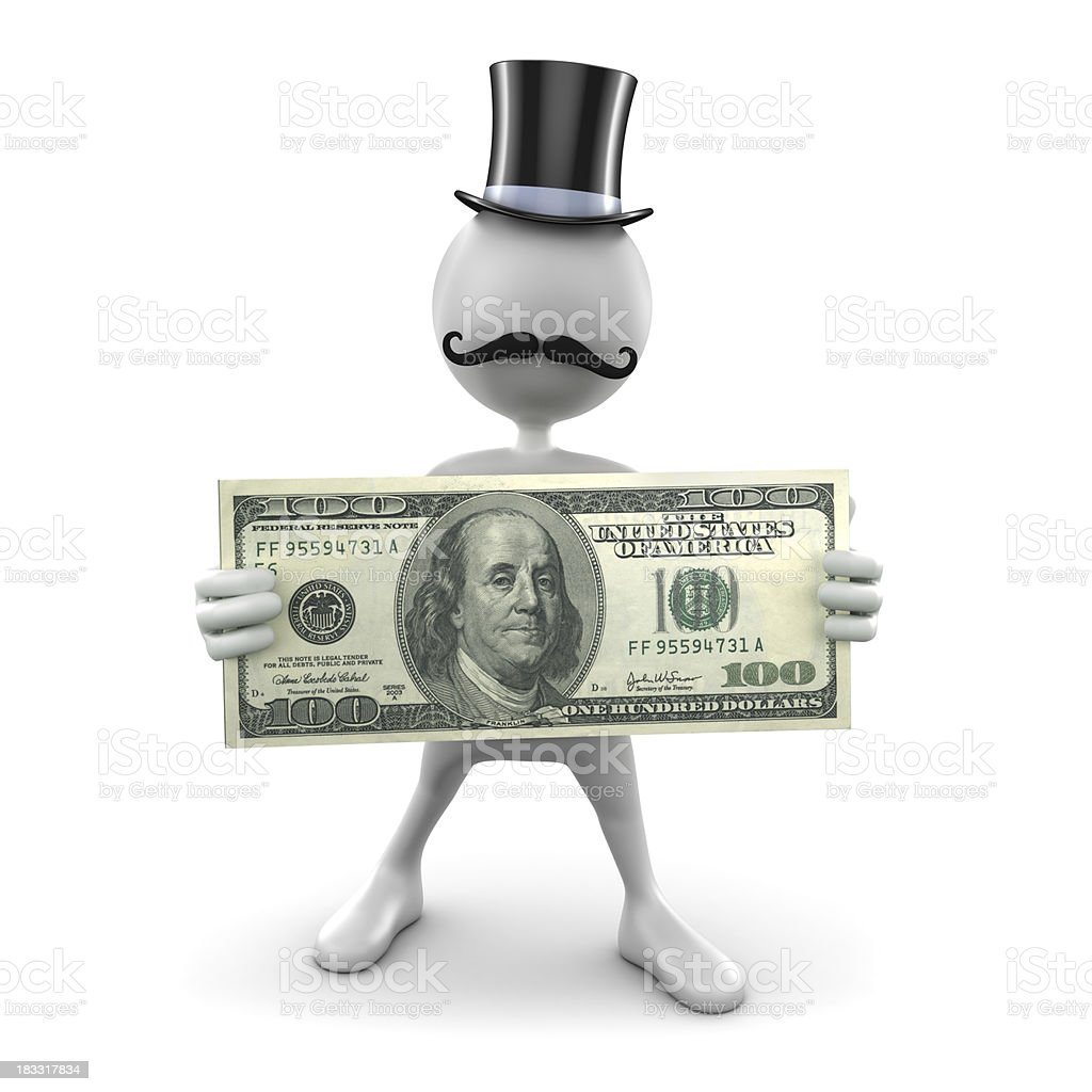 3d Man in top hat and moustache, isolated/clipping path royalty-free stock photo