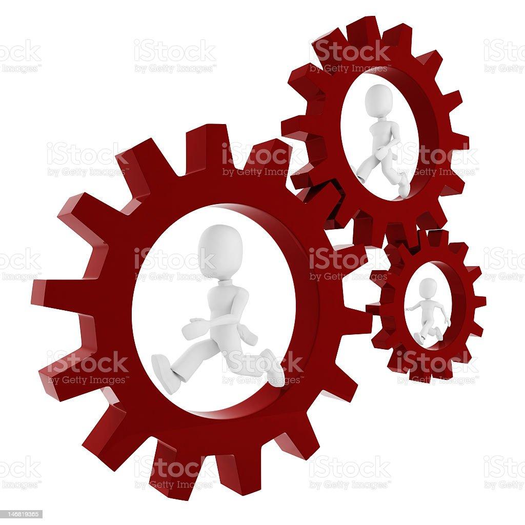 3d man inside a gear wheel royalty-free stock photo