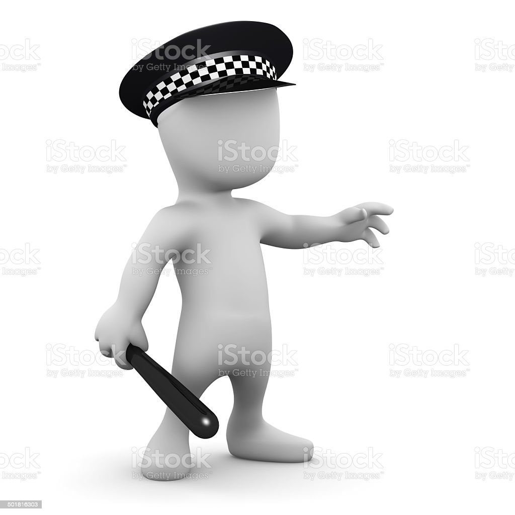 3d Man is a police officer stock photo