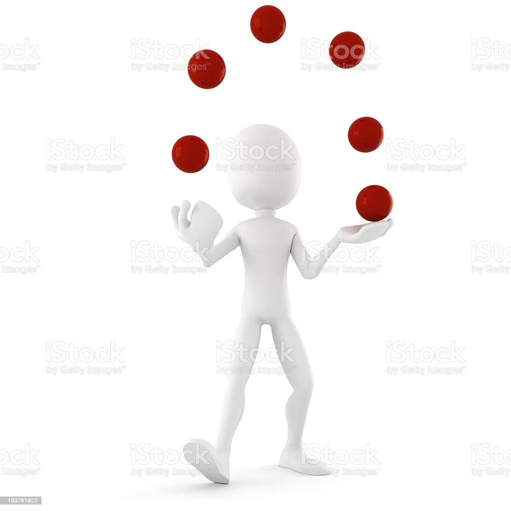 3d man jongleur, entertaining the crowd royalty-free stock photo