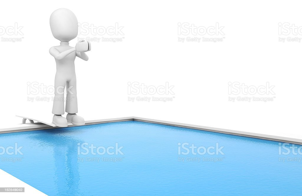 3d man jumping in a swiming pool royalty-free stock photo