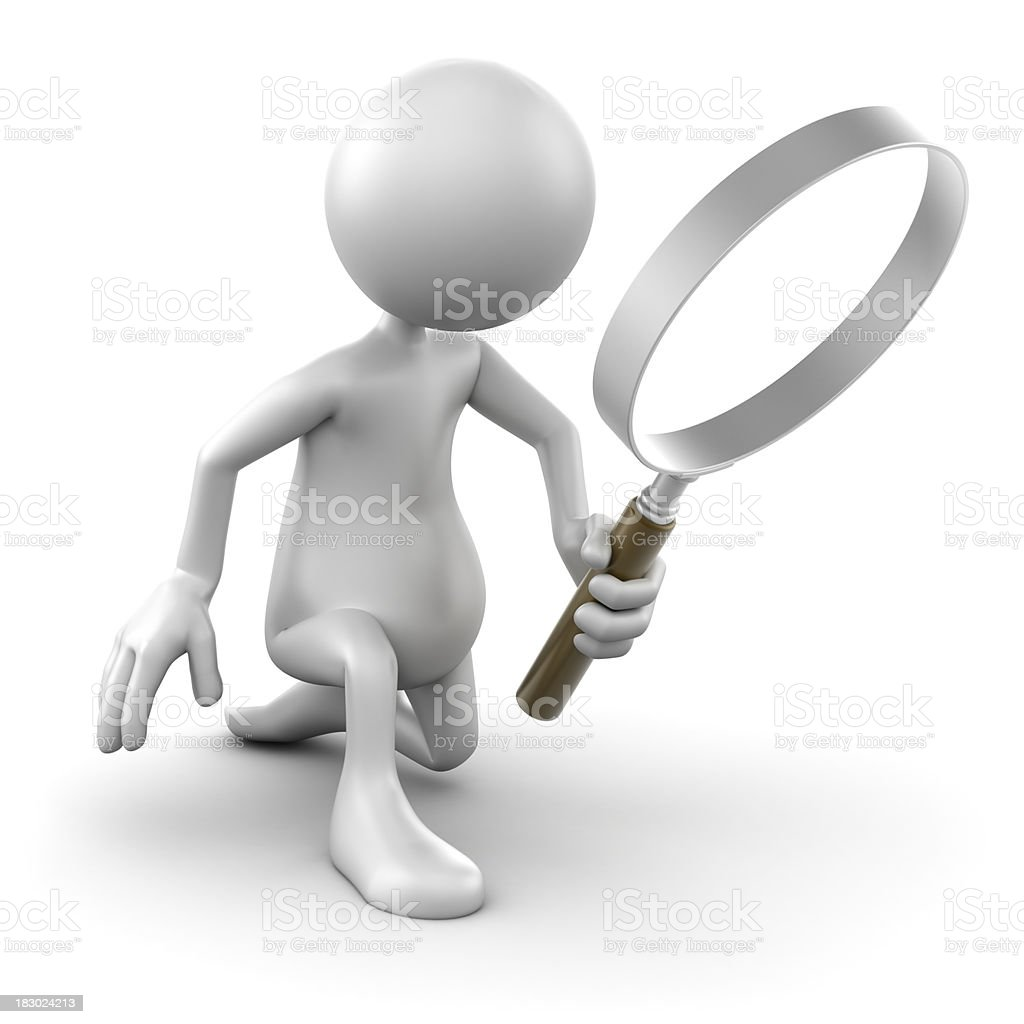 3d Man kneeling with magnifying glass, isolated w. clipping path royalty-free stock photo