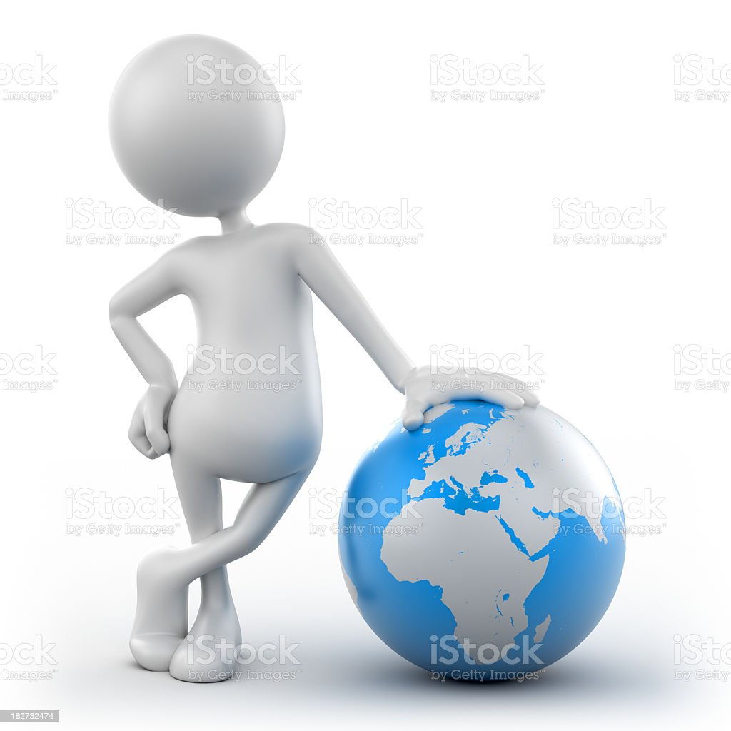 3d Man leaning on earth globe, isolated with clipping path royalty-free stock photo