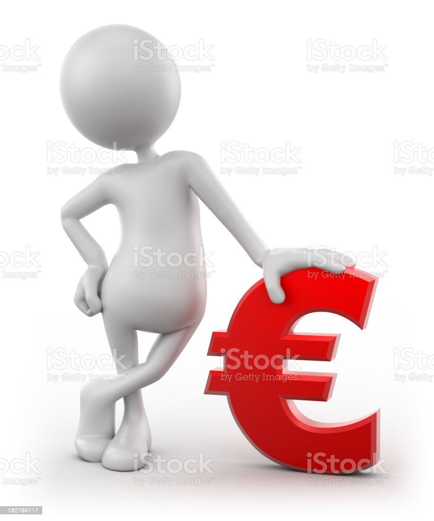 3d Man leaning on Euro sign, isolated with clipping path royalty-free stock photo