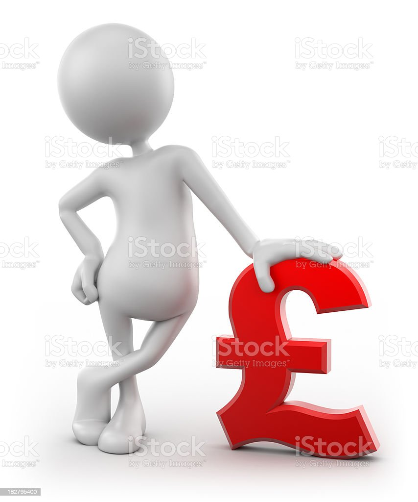 3d Man leaning on Pound sign, isolated with clipping path royalty-free stock photo