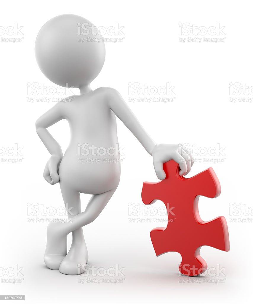 3d Man leaning on puzzle piece, isolated with clipping path royalty-free stock photo