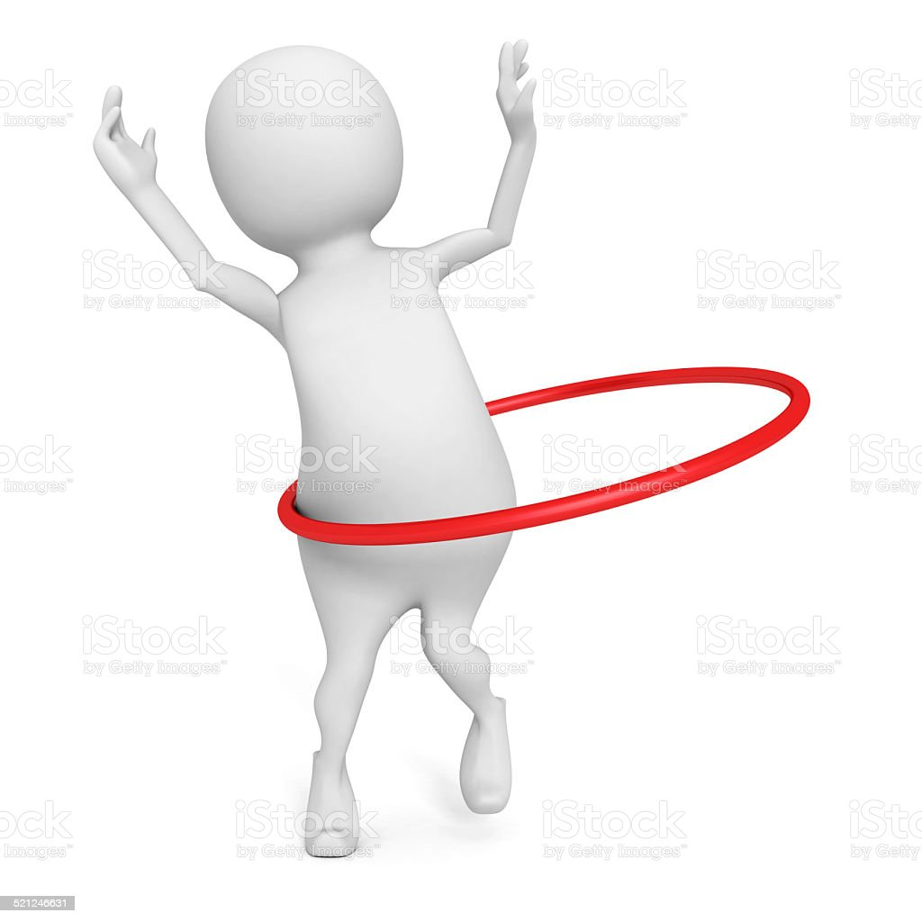 3d man plays hula hoop exercise on white background stock photo