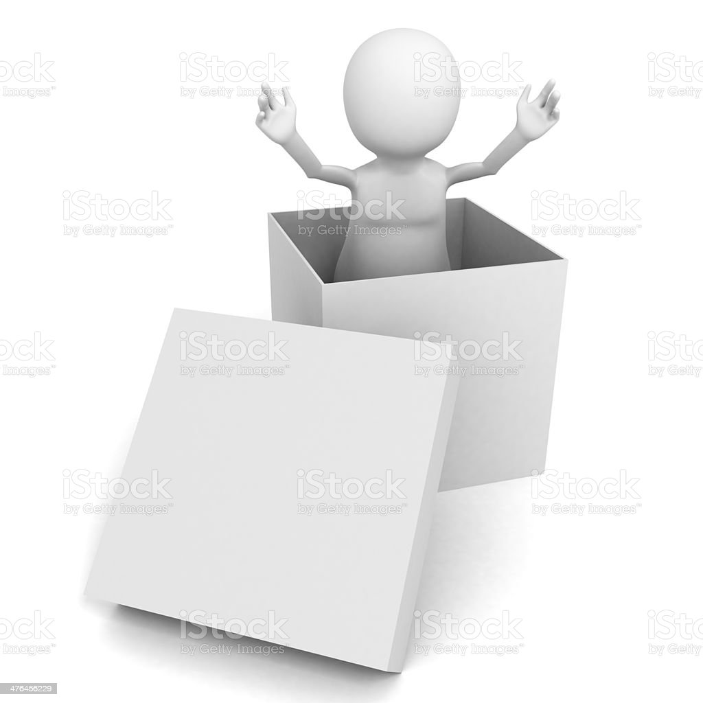 3d man presentation coming out of white box royalty-free stock photo