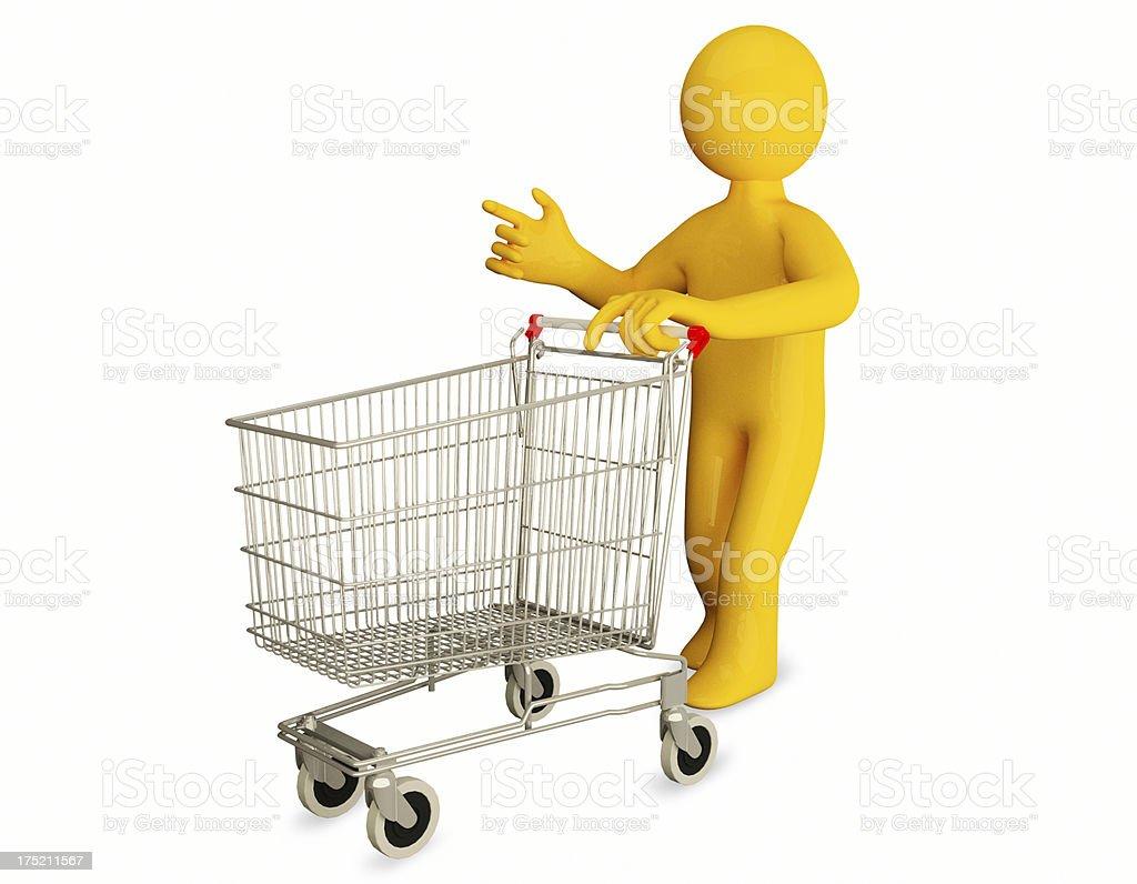 3d man pushing a shopping cart royalty-free stock photo