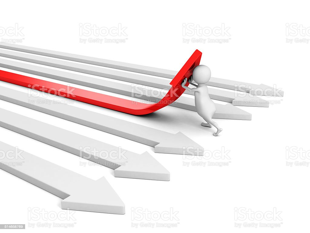 3d man pushing red arrow up from others. success concept stock photo