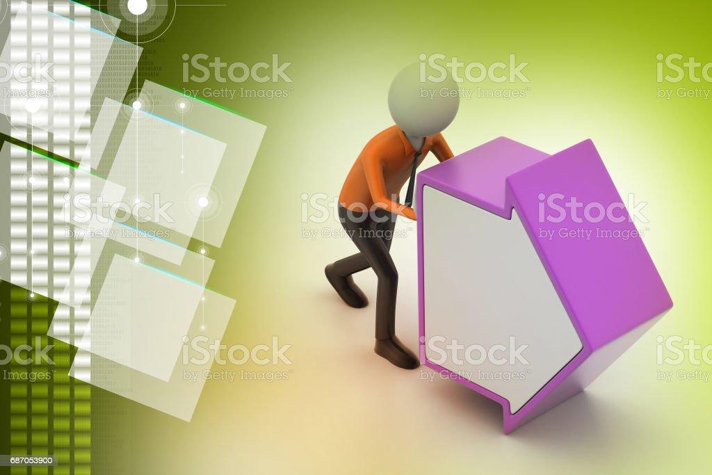 3d man pushing the arrow stock photo