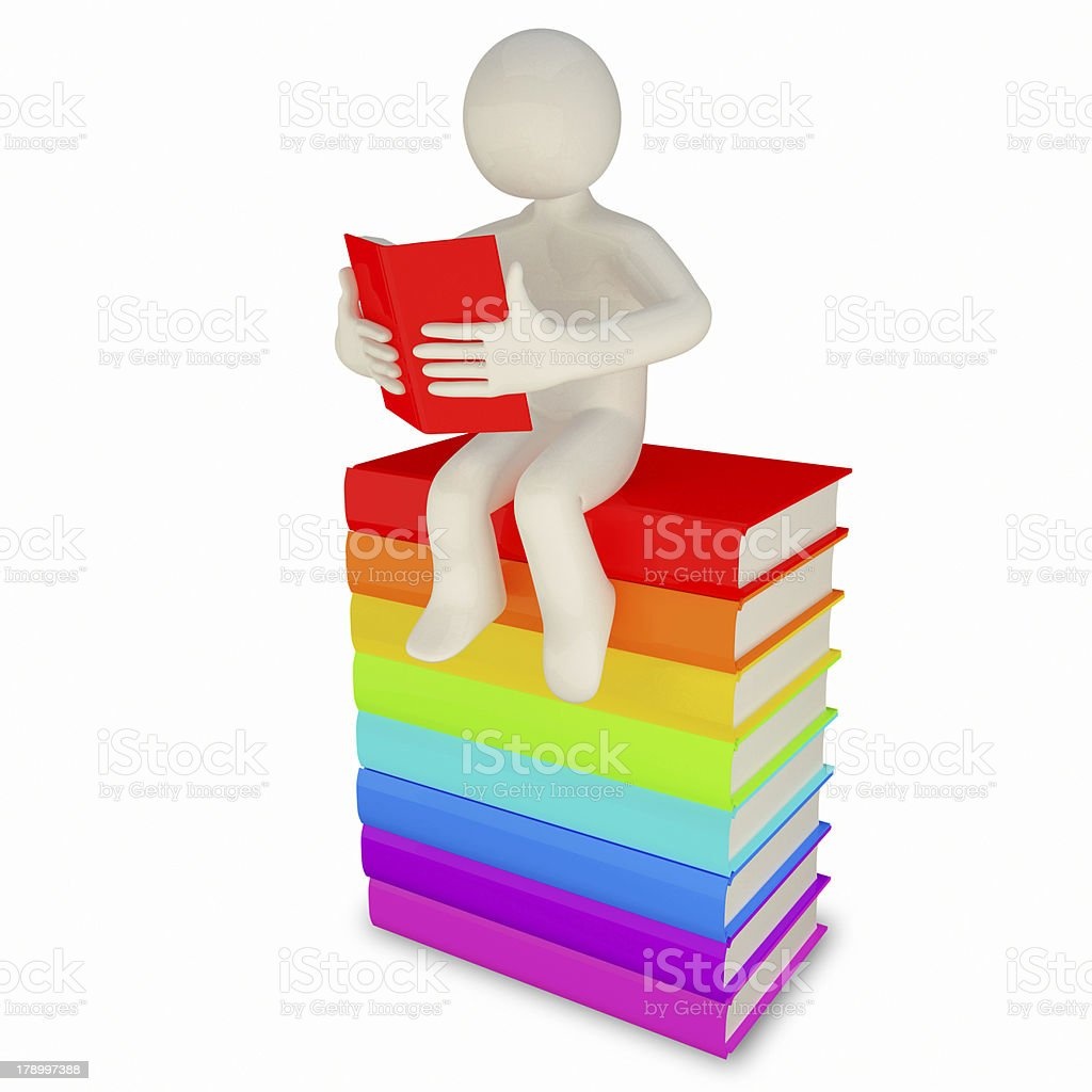 3d man reading a book royalty-free stock photo
