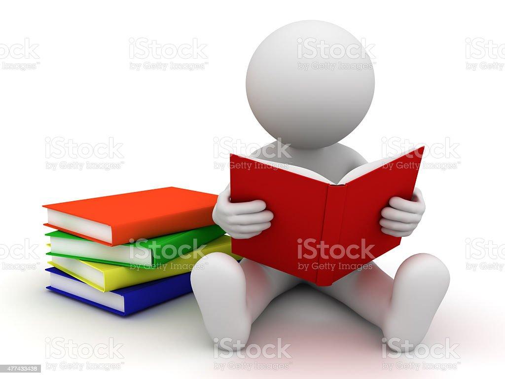 3d man reading books stock photo