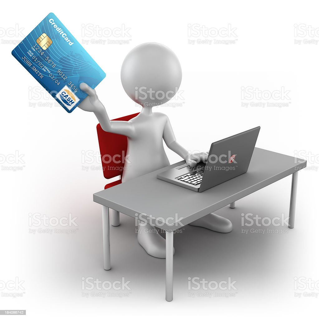 3d Man shopping online, isolated with clipping path royalty-free stock photo