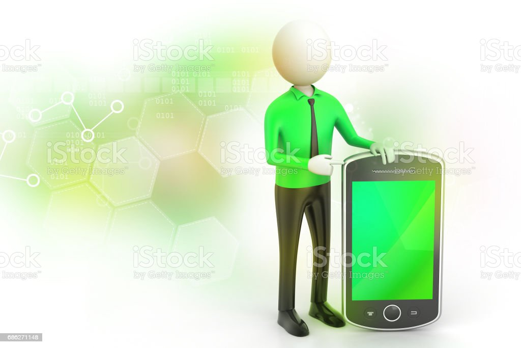 3d man showing the tablet computer stock photo