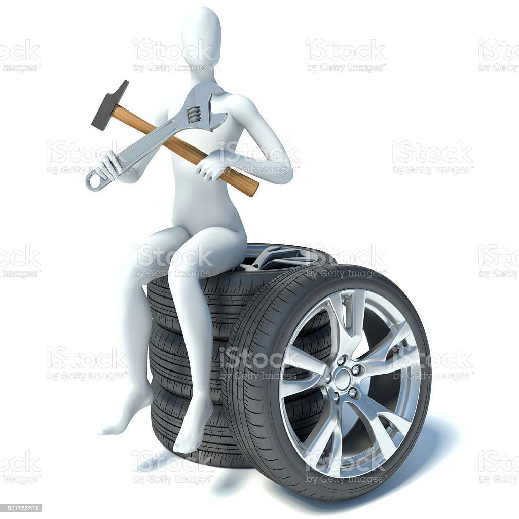 3d man sitting on car wheels stock photo