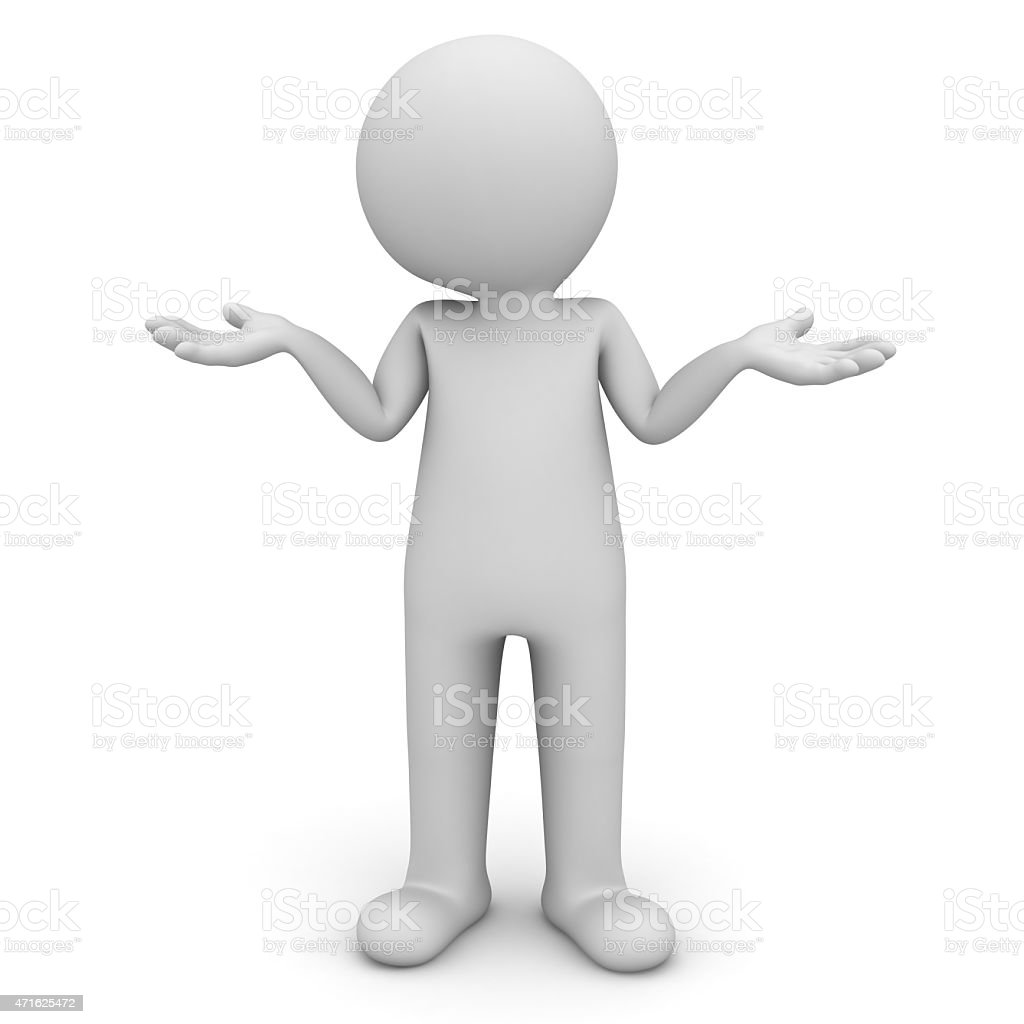 3d man standing and having no idea stock photo