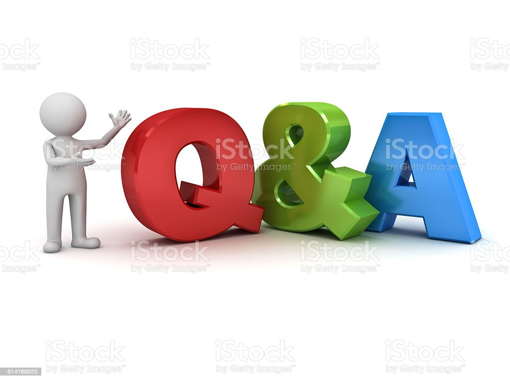 3d man standing and presenting Q and A word stock photo