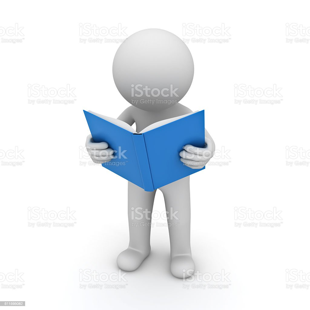 3d man standing and reading a blue book stock photo