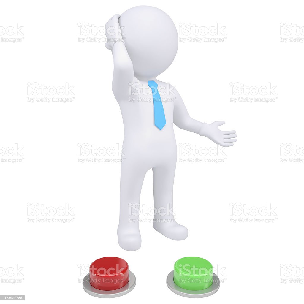 3d man standing near the red and green buttons royalty-free stock photo