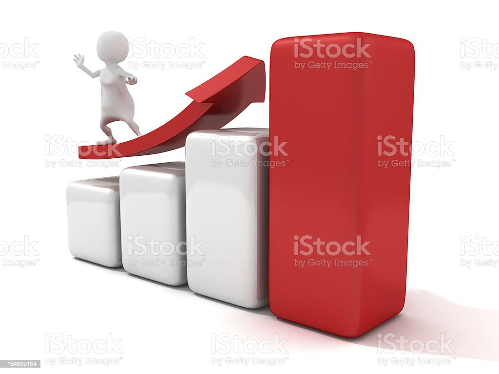3d man surfing on red growing arrow success bar chart royalty-free stock photo