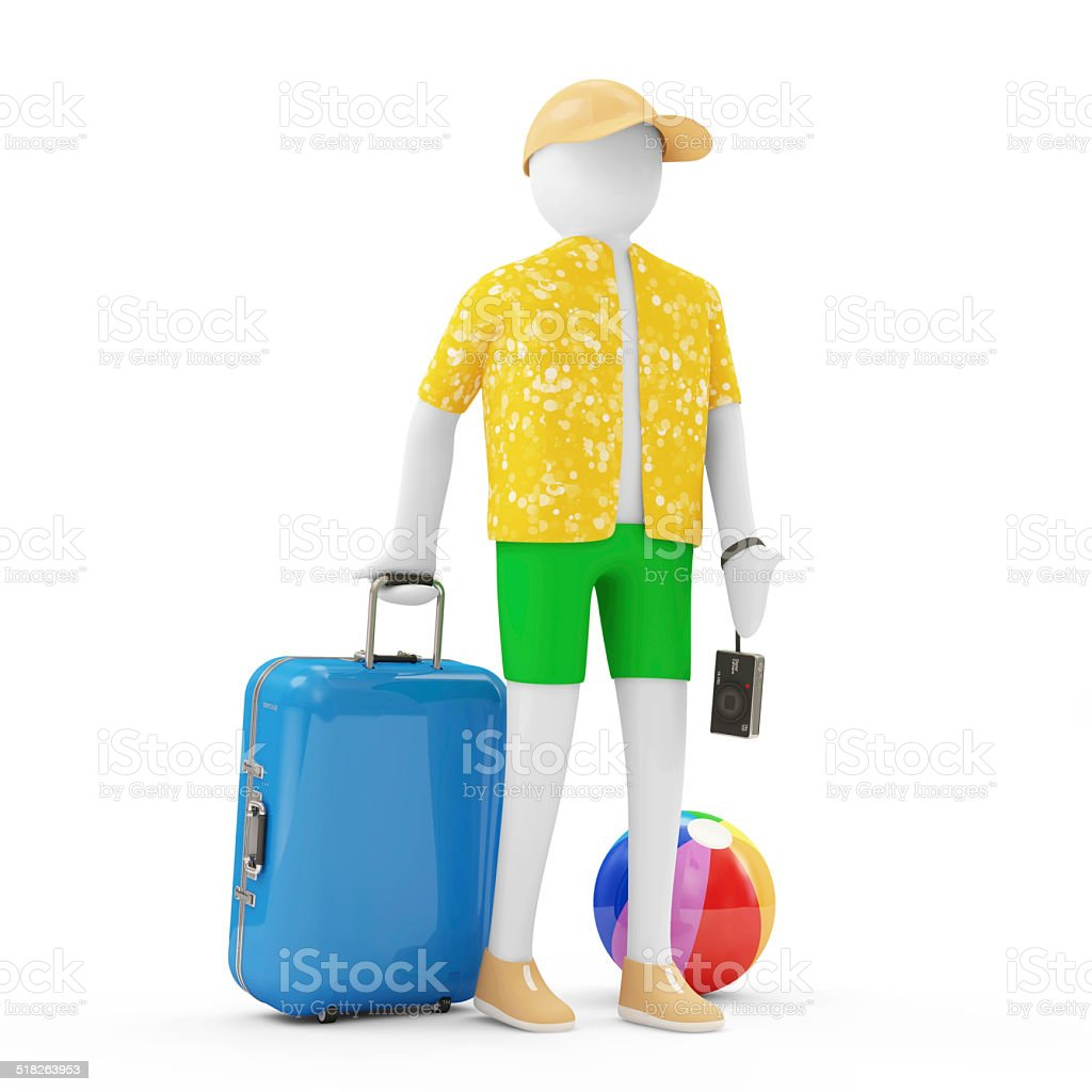 3d Man Tourist with different accessories for vocation stock photo