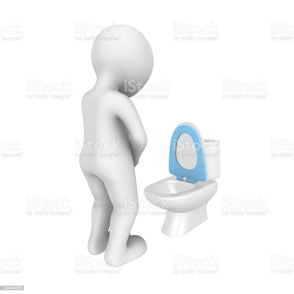 3d man urinates to toilet bowl. stock photo