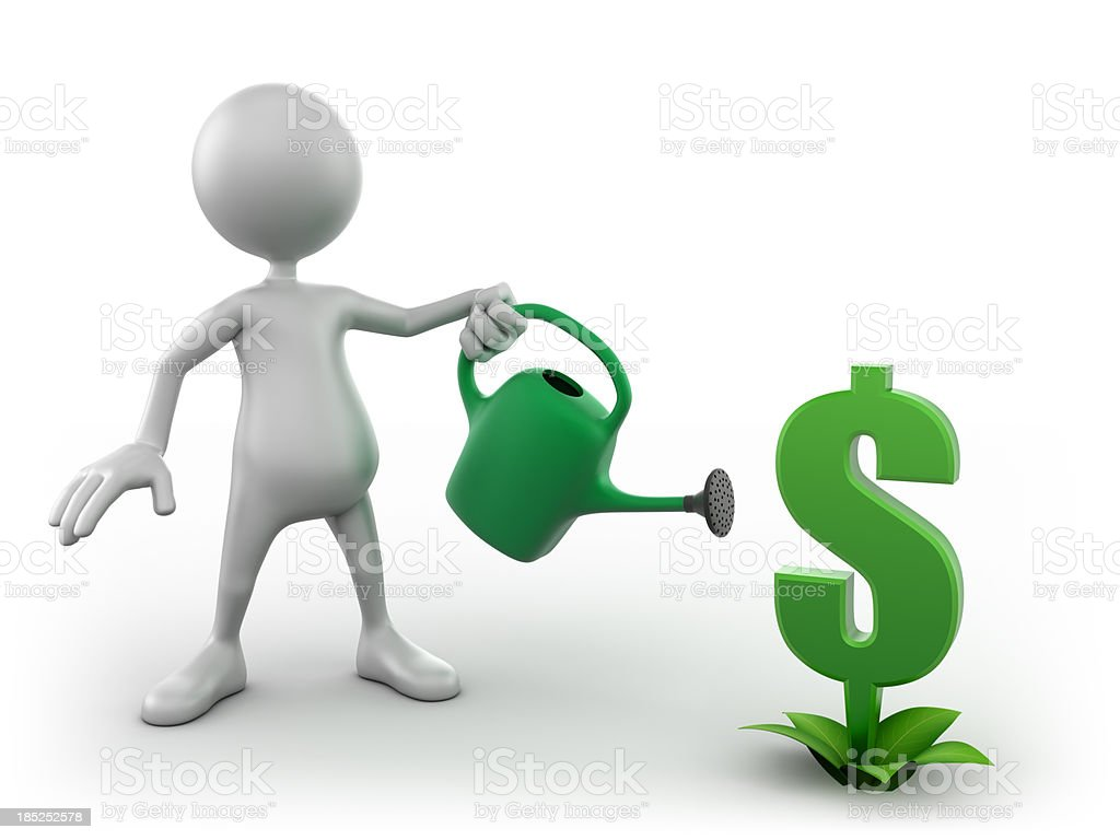 3d Man watering growing dollar sign, isolated with clipping path royalty-free stock photo
