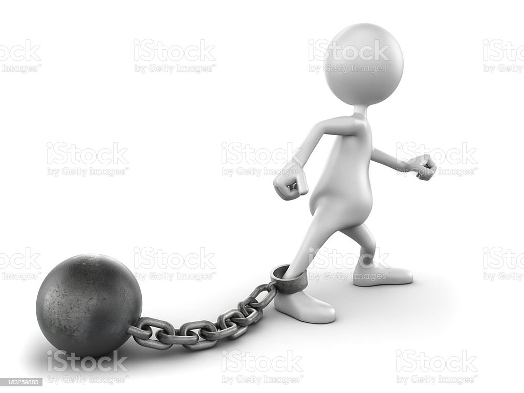 3d Man with ball and chain, isolated w. clipping path stock photo