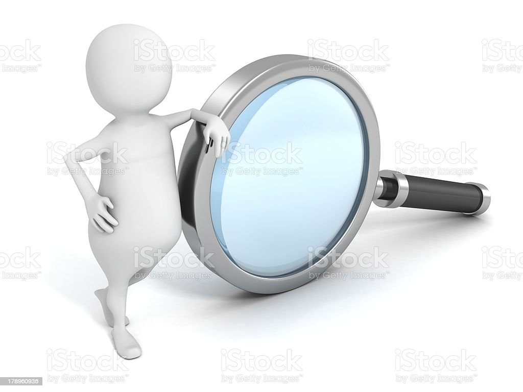 3d man with big magnifying glass. Search Concept royalty-free stock photo