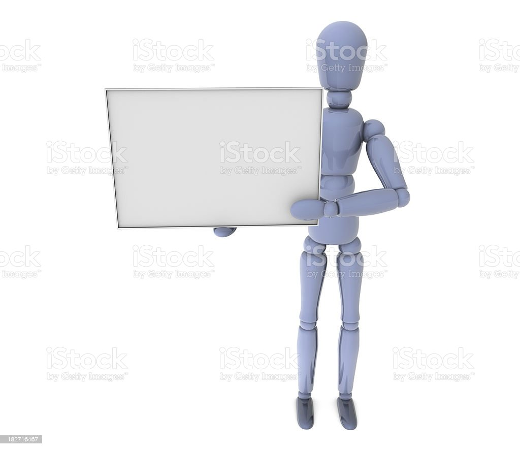3d man with blank message sign royalty-free stock photo