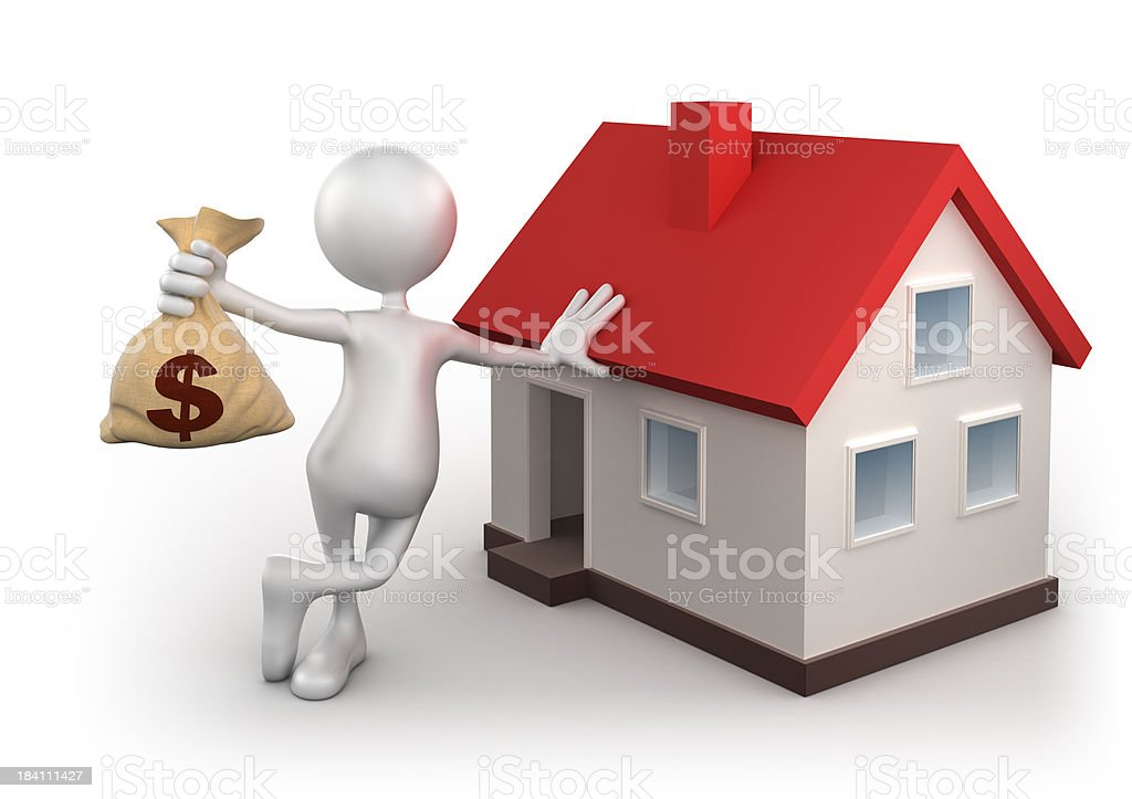 3d man with dollar bag and home, isolated/clipping path royalty-free stock photo