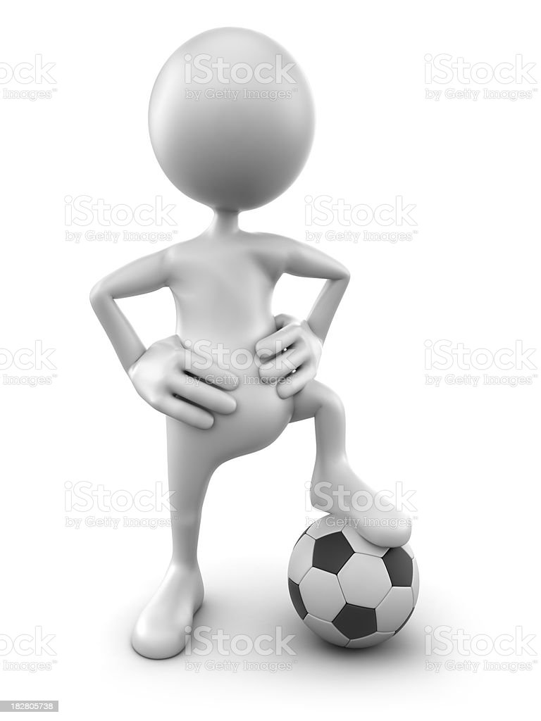 3d Man with foot on soccer ball, isolated/clipping path royalty-free stock photo