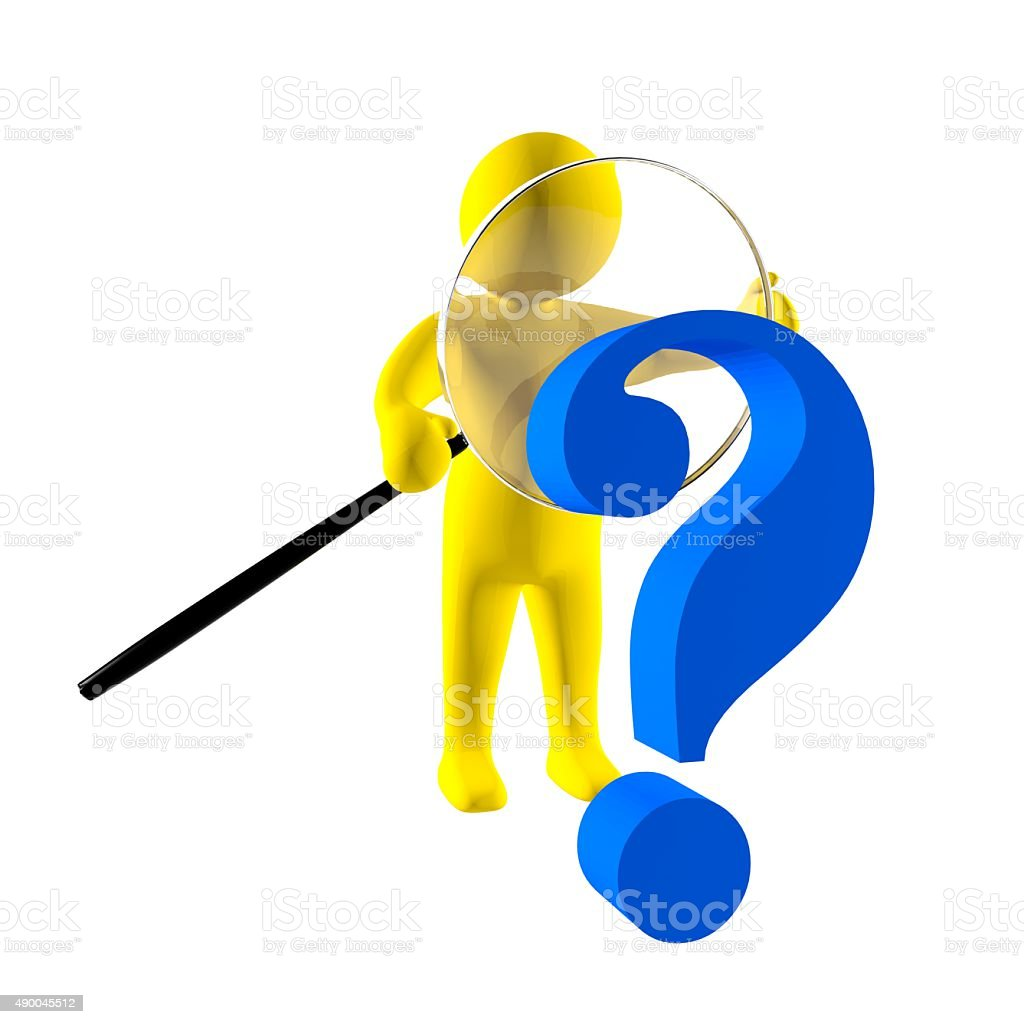3d person with magnifying glass and question mark stock images image - 3d Man With Magnifying Glass Investigates Big Question Mark Sign Royalty Free Stock Photo
