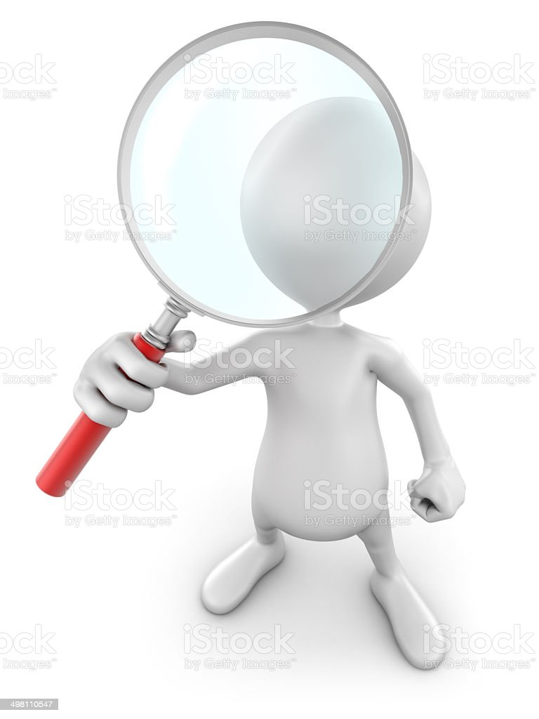 3d Man with magnifying glass, isolated / clipping path royalty-free stock photo