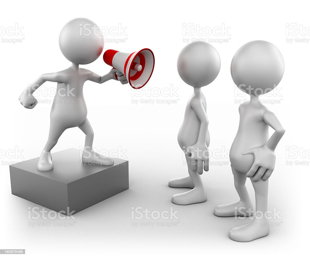 3d Man with megaphone and audience, isolated w. clipping path royalty-free stock photo